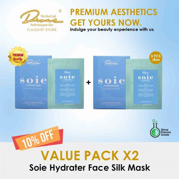 Soie Hydrater Face Silk Mask, 3PCS/Box value pack