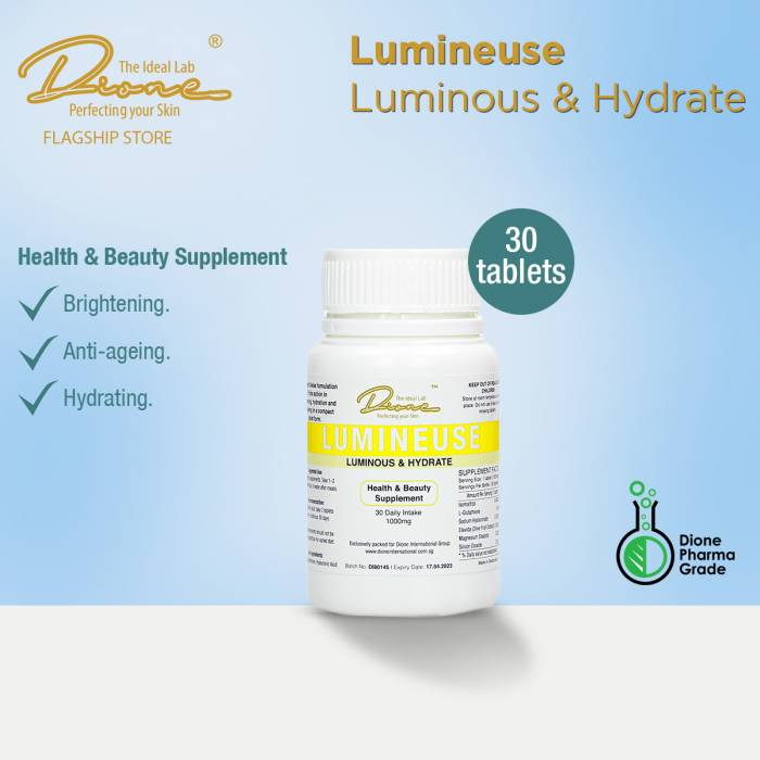 DTIL Lumineuse & Hydrate Supplement, 30 Tablets per bottle