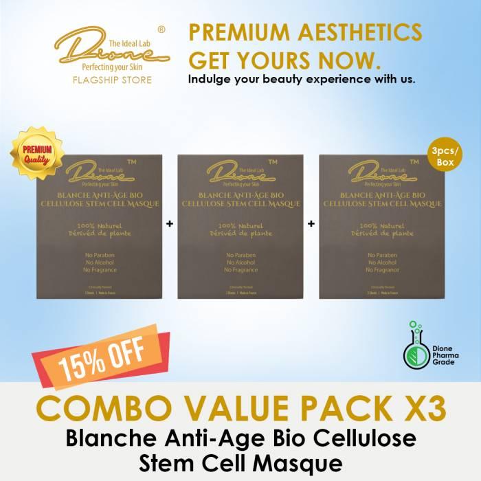 Blanche Anti-Age Bio Cellulose Stem Cell Masque, 3PCS/Box Combo value pack