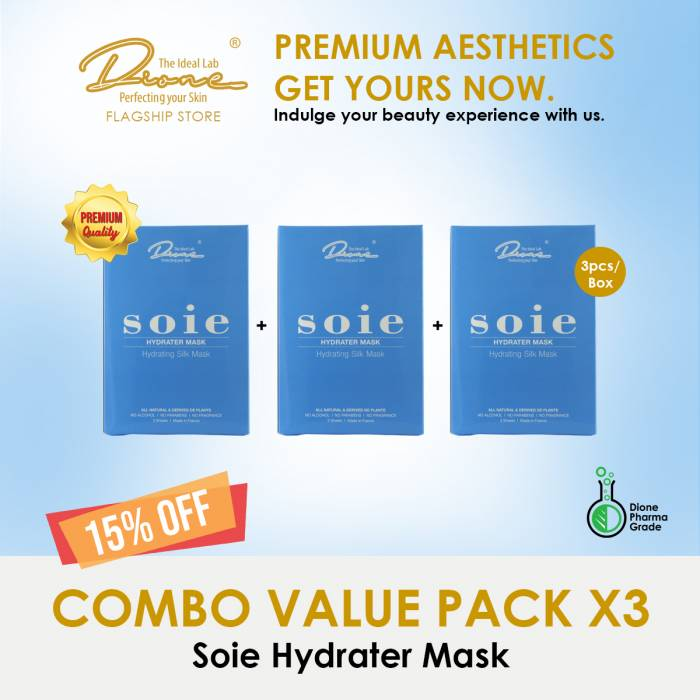 SOIE- Hydrater Face Silk Mask, 3PCS/Box Combo value pack