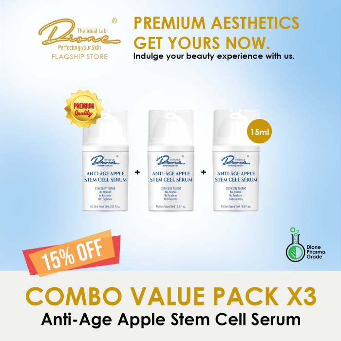Anti-Age Apple Stem Cell Serum,15ml Combo value pack